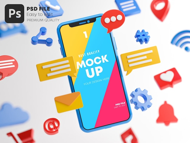 Concetto di social media del dispositivo di cartone animato con icone mockup nel rendering 3d