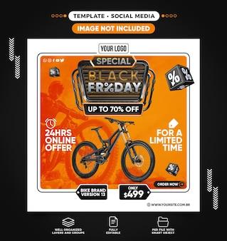 Social media feed speciale black friday in bici con sconti fino a 70