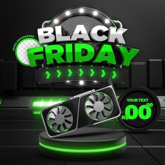 Social media green black friday 50 off promozione instagram post template 3d render