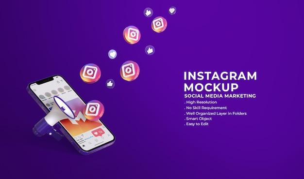 Mockup 3d di social media instagram con il concetto di social media marketing