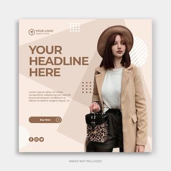 Modello di banner post di social media instagram con concetto di vendita di moda modello di instagram moda