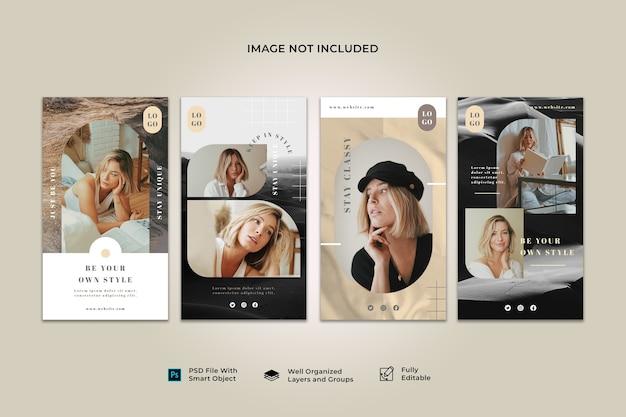 Raccolta di modelli di banner post di storia di instagram sui social media