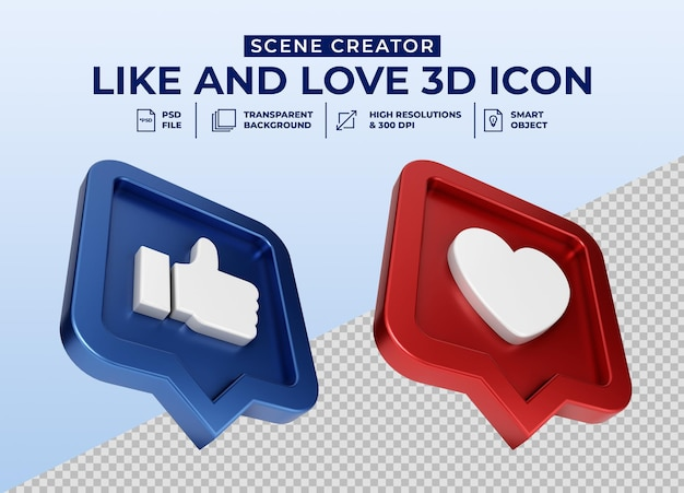 Social media come e amore distintivo icona pulsante 3d minimalista