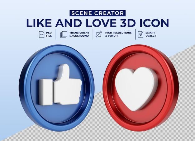 Social media mi piace e ama l'icona del pulsante 3d minimalista per il creatore di scene