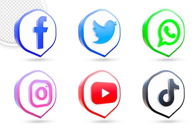 Set di loghi e icone dei social media