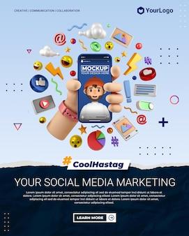 Post di ritratto di instagram di social media marketing con modello di rendering di mano di illustrazione di cartone animato 3d