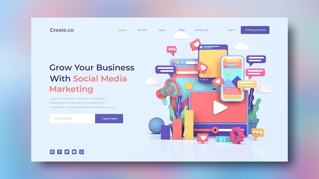 Modello di pagina di destinazione del social media marketing