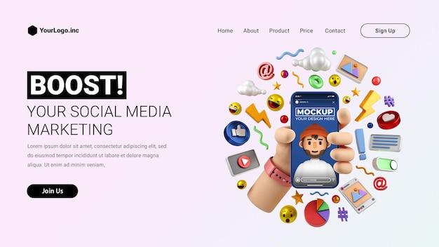 Pagina di destinazione del marketing dei social media con la mano dell'illustrazione del fumetto 3d