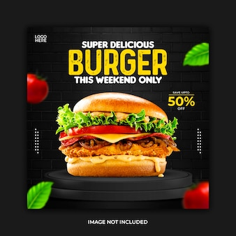 Modello di cibo per banner post sui social media