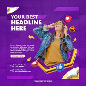 Modello di banner post per social media con rendering di oggetti 3d psd premium