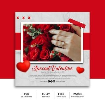 Modello di san valentino banner post social media rose