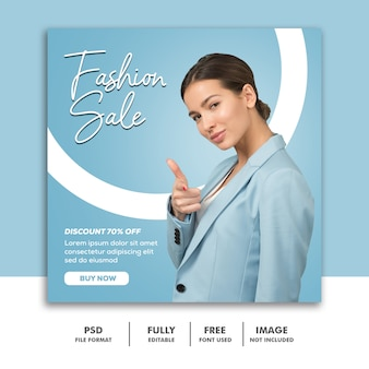 Post social media instagram banner template fashion sale blue