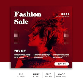 Social media post instagram banner template fashion sale red