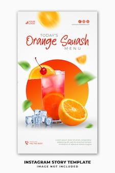 Modello di banner di storie di instagram post sui social media per la bevanda estiva del menu del cibo del ristorante