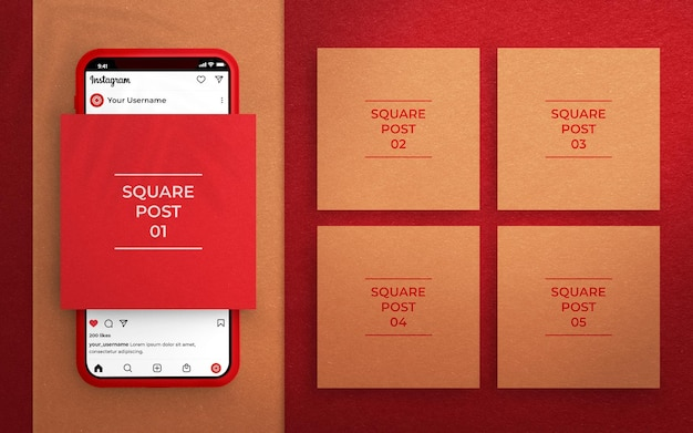 Mockup di post sui social media con interfaccia instagram e telefono rendering 3d