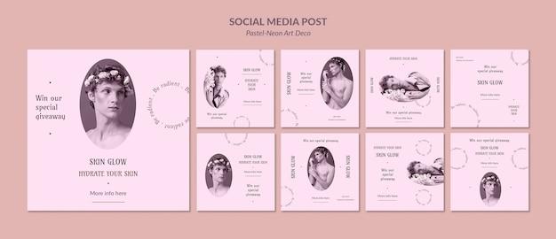 Modello di design neo art pastello post sui social media