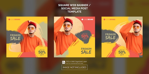 Social media post o square web banner template collection of fashion sale