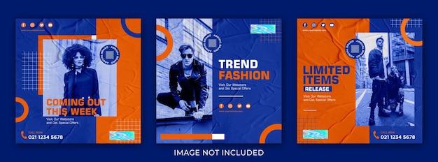Modello di set di moda per i social media post streetwear
