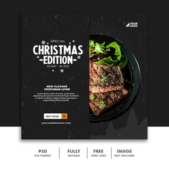 Modello di post sui social media per il menu di cibo di natale bistecca di manzo Psd Premium