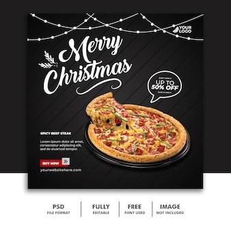 Modello di post sui social media natale per la pizza del menu del cibo del ristorante