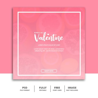 Social media post template instagram, food valentine pink