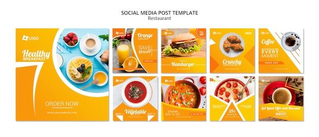 Modello di post sui social media per ristoranti Psd Premium