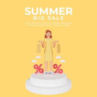 Modello di post di social media con personaggio femminile 3d per la vendita estiva