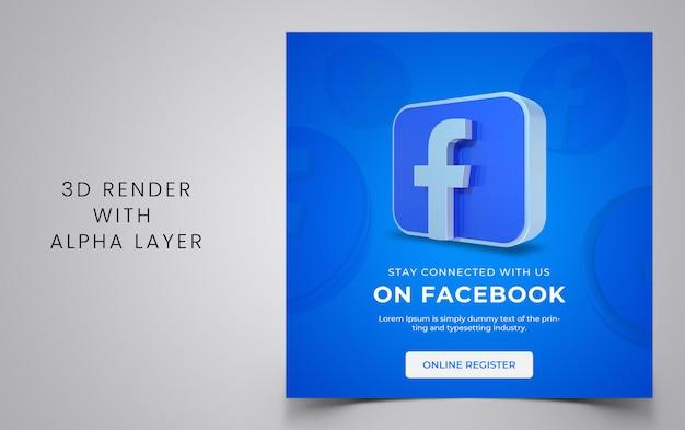 Modello di post sui social media con forme 3d