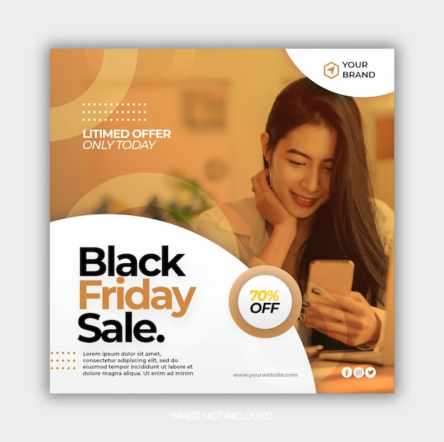 Modello di post di social media con modello di banner di vendita venerdì nero