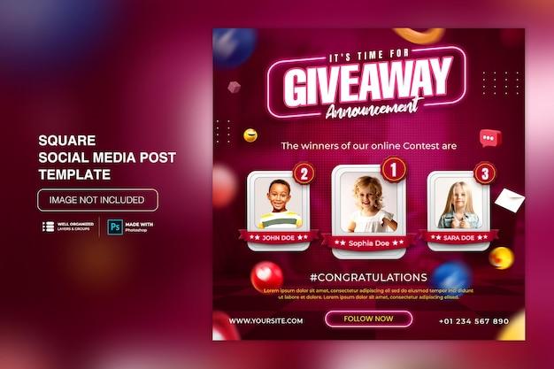 Modello di post sui social media con promozione omaggio per instagram facebook