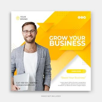 Modello di post sui social media con il concetto di crescita del tuo business modello moderno di instagram arancione