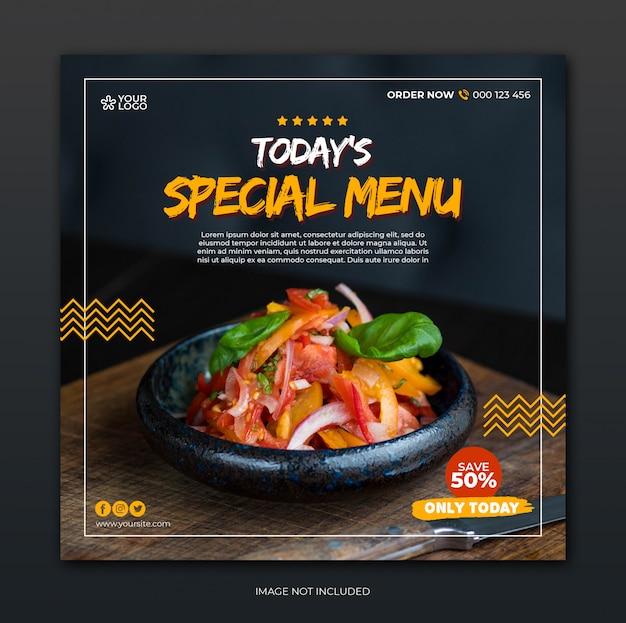 Modello di posta sociale dei media con il concetto di menu speciale del ristorante