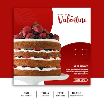 Social media post valentine template instagram, torta rossa