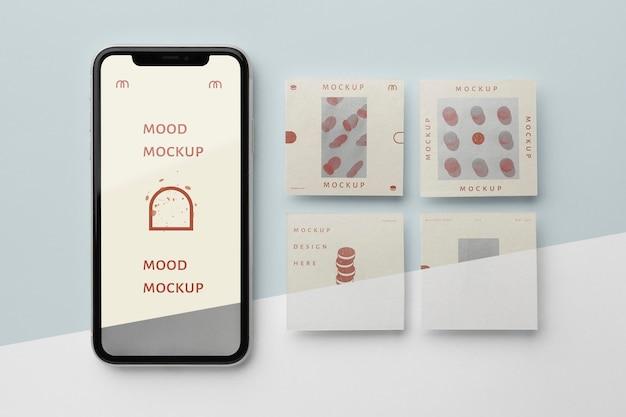 Post sui social media e mock-up di smartphone
