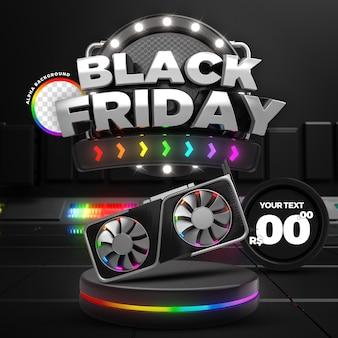 Social media rainbow black friday 50 off promozione instagram post template 3d render