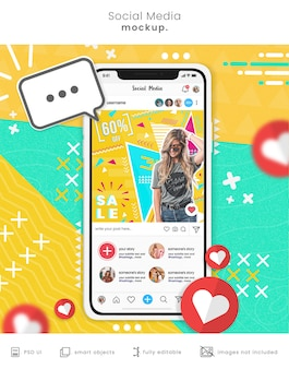 Mockup di smartphone per social media