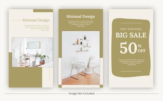 Banner di modelli di mobili di storie di social media