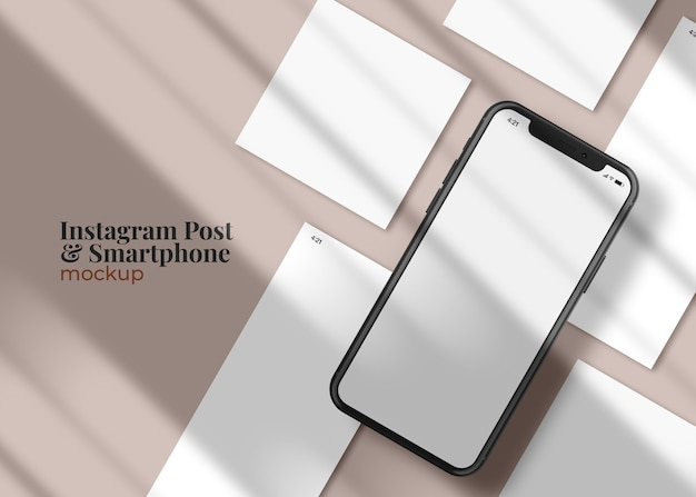 Storie di social media e modello di post sul mockup dello smartphone