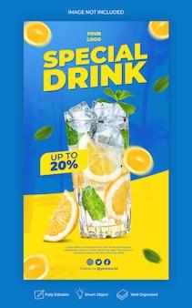 Modello di storie di social media drink speciale