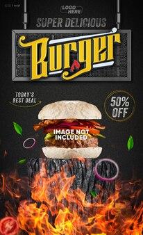 Modello di storie di social media hamburger super delizioso per il trucco