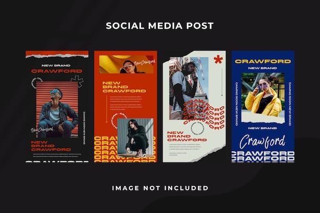 Modello di instagram di storia dei social media