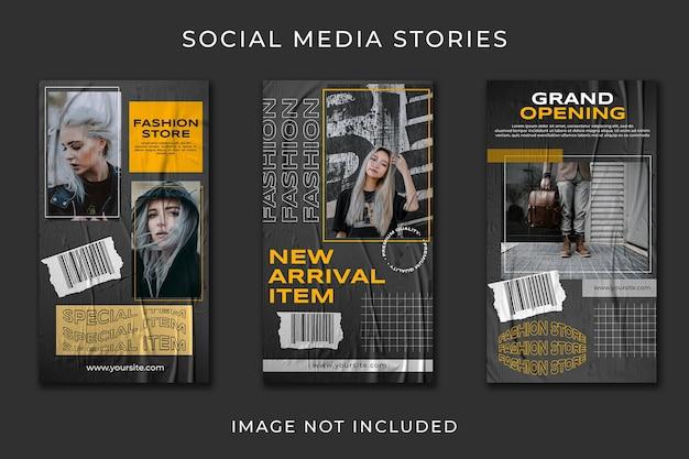 Modello di raccolta di moda di strada urbana di storia dei social media