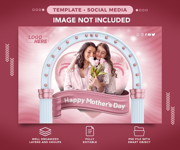 Modello di social media happy mothers day