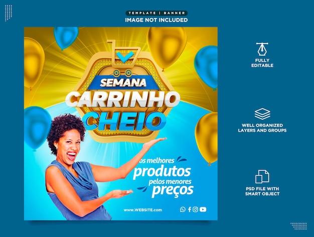 Modello di social media instagram in portoghese per le vendite della settimana di settembre carrello pieno