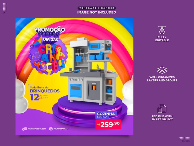 Modello social media instagram post dia das bambini brasil em portugues saldi