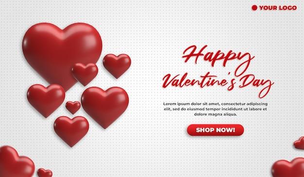 Pubblicità dell'oggetto 3d del cuore rosso del biglietto di s. valentino dell'insegna del sito web di media sociali