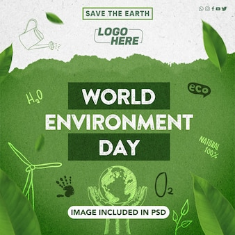 Modello per la giornata mondiale dell'ambiente dei social media per la composizione