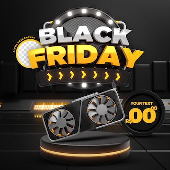 Social media yellow black friday 50 off promozione instagram post template 3d render