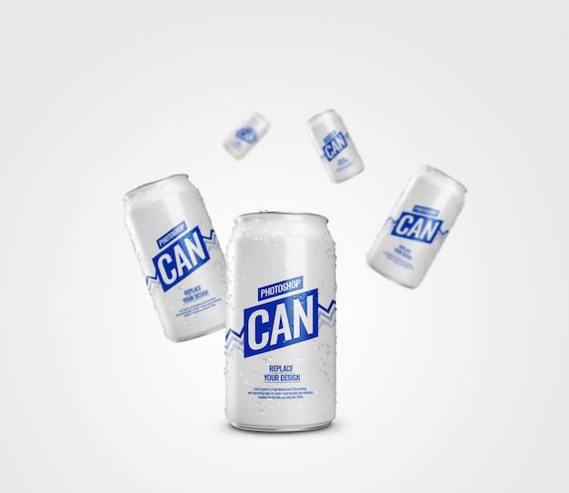 Mockup pubblicitario di lattina di soda