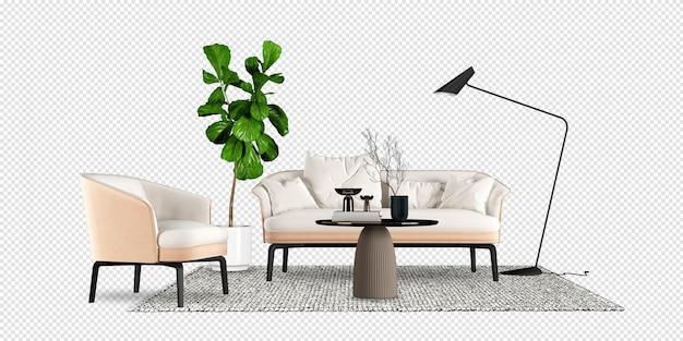 Divano e pianta in rendering 3d